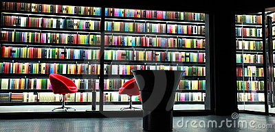 Bookcase of library Editorial Stock Image