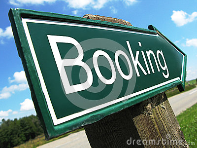 Booking road sign