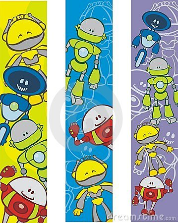 Bookmarks with robot cartoons