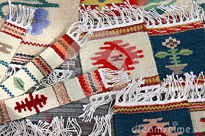 Bookmarks and traditional decorative rugs