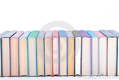 Books of different colours.