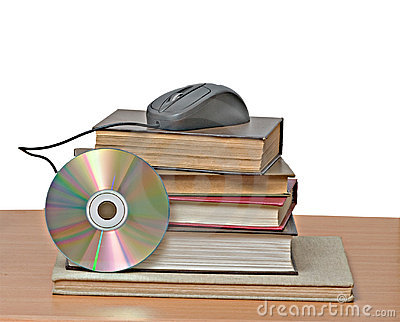 Books, dvd, and mouse