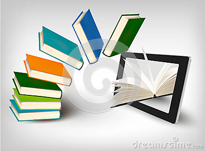 Books flying in a tablet. Vector