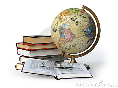 Books globe and glasses