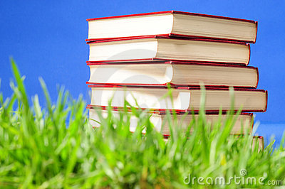 Books on grass. Educational concept.