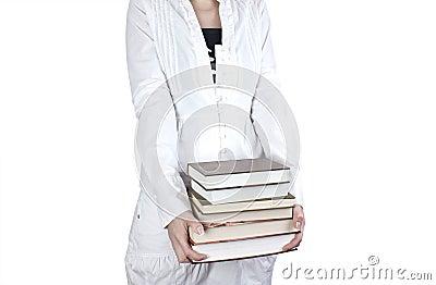 Books in a hands