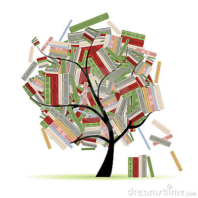Free Books Library On Tree Branches For Your Design Stock Image - 18892101