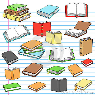 Books Library Reading Notebook Doodles Set