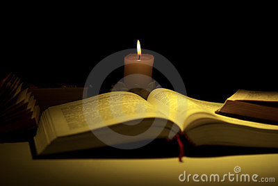 Books by the light of candle