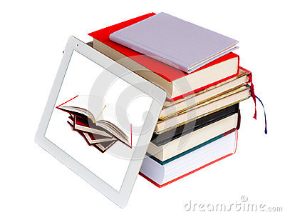 books and modern tablet PC