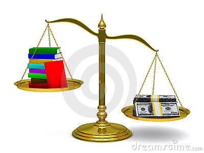 Books and money on scales. Isolated 3D Stock Photo