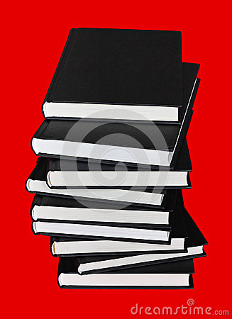 Books over red