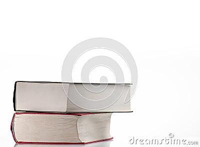 Books over white background