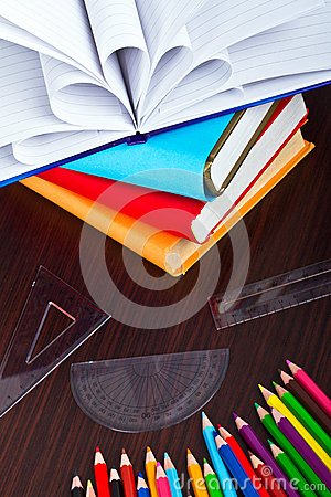 Books and pencils for back to school