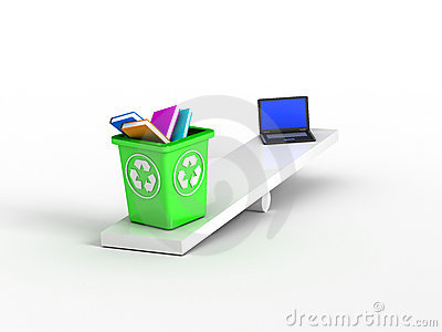 Books on recycle bin vs laptop