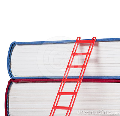 Books with a red ladder