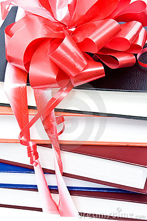 Books with a ribbon and a bow