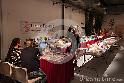 Books on sale at Olis Festival in Milan, Italy Editorial Stock Photo