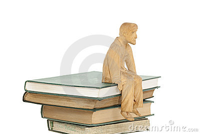 Books and sculpture