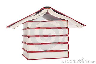 Books shaped like a house