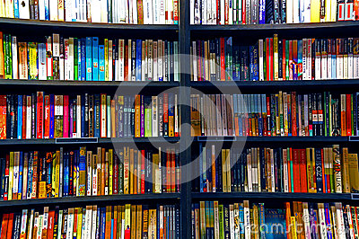 Books on shelves Editorial Stock Photo