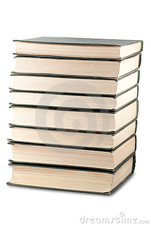 Books stack with clipping path