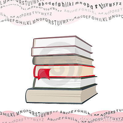 Books stack and wavy flying letters collage