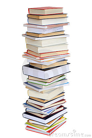 Books Stack on White