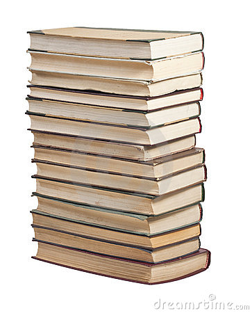 Books in a stack on white