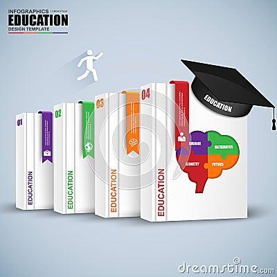 Books step business education infographics Vector Illustration