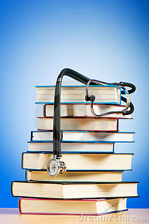 Books and stethoscope