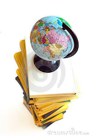 Books and world globe