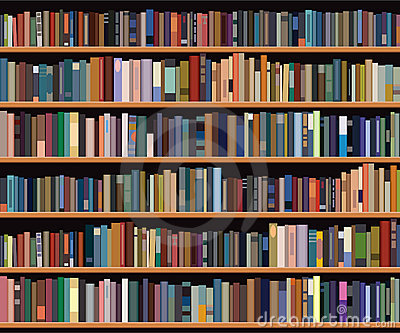 Illustration of bookshelf with different books.
