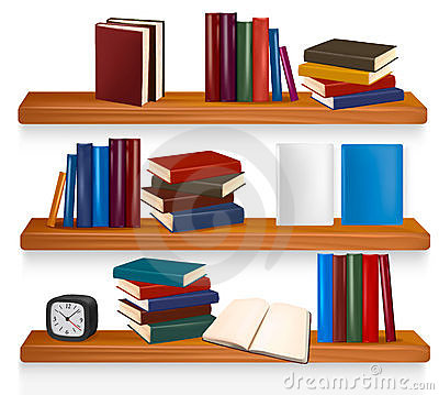 Bookshelf with books. Vector