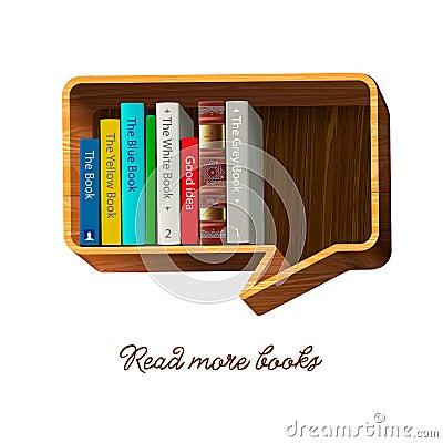 Bookshelf in the form of speech bubble.