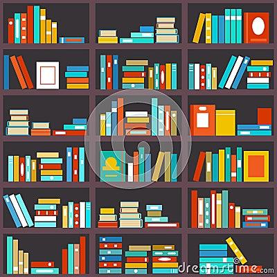 bookshelf seamless background stock vector image 57819202