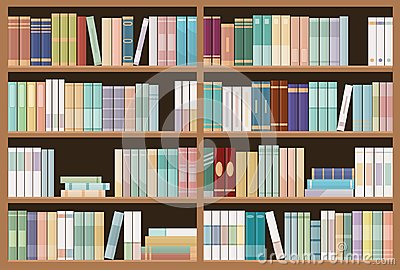 Bookshelves full of books. Education library and bookstore concept. Seamless pattern. Vector Illustration