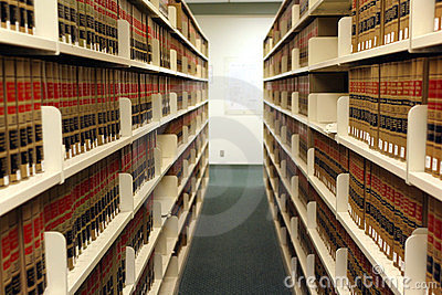 Bookshelves in law library