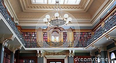 Bookshelves in old library