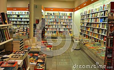 Bookshop interior in Italy  Editorial Photo