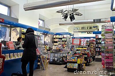Bookstore in Rome Editorial Stock Photo