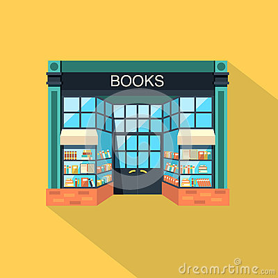 Bookstore store building in flat design style stock for Store building design