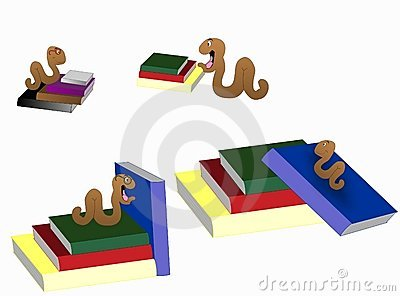 Bookworm readers Clip art illustrations