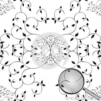 Boom naadloos patroon met loupe