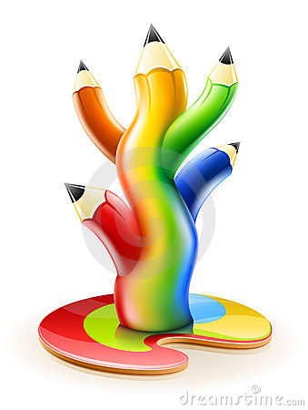 Boom van creatief de kunstconcept van kleurenpotloden