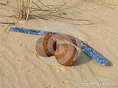 Boomerang and coconuts.
