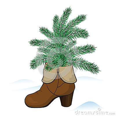 Boot with fir tree