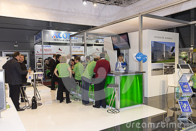 Booth with personnel at AquaTherm 2012 in Prague Editorial Photo