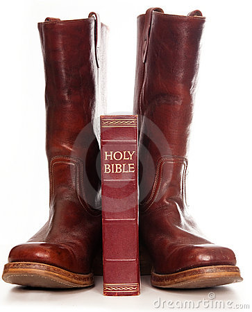 Free Boots And The Holly Bible Royalty Free Stock Photos - 15622438