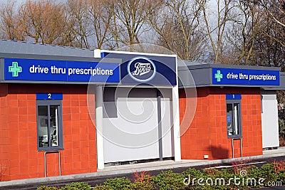 Boots drive through prescription store. Editorial Photography